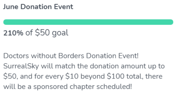 June donation 210% of $50